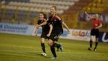 Rebecca Knaak (No5) celebrates after scoring Germany's winner