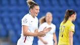Marie-Charlotte Léger celebrates France's opening goal