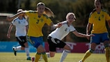 Action from Germany's 2-1 win against Sweden at La Manga in March