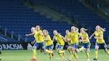 Sweden celebrate after Rebecka Blomqvist's winning penalty