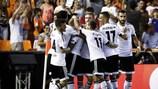 Valencia feiert den dritten Treffer im Hinspiel gegen Monaco