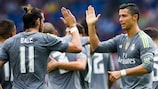 Cristiano Ronaldo (right) is congratulated on his fifth goal of the game