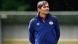 PSV coach Phillip Cocu presides over training on Monday