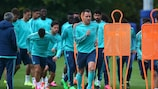 Chelsea are put through their paces in training on Tuesday morning