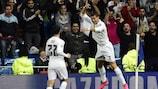 Cristiano Ronaldo celebrates his hat-trick goal