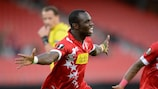 Moussa Konaté celebrates his opening goal for debutants Sion