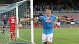 Napoli's Marek Hamšík after scoring against Club Brugge
