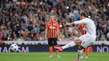 Cristiano Ronaldo scores Madrid's second from the penalty spot against Shakhtar Donetsk