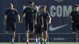 Luis Suárez in training ahead of the Leverkusen game