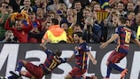 Luis Suárez celebrates his winner in front of the Barcelona fans
