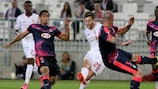 Adam Lallana scores Liverpool's goal in Bordeaux on matchday one