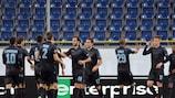 Lazio celebrate Sergej Milinković-Savić's goal at Dnipro on matchday one