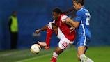 Braga forward Alan under pressure from Liberec's Josef Šural