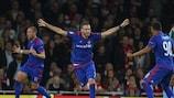 Kostas Fortounis celebrates during the win at Arsenal