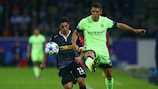Lars Stindl tussles with Martín Demichelis during City's 2-1 win in Germany in September