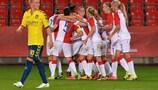 Slavia Praha celebrate during the win against Brøndby