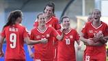 Switzerland celebrate scoring in their 3-0 win in Italy