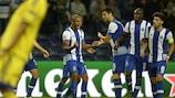 Rúben Neves (right) celebrates Yacine Brahimi's goal against Maccabi