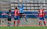 Örebro goalkeeper Carola Söberg claims the ball in Paris