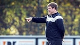 Hein Vanhaezebrouck oversees a Gent training session ahead of the Valencia game