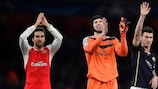 Petr Čech (centre) joins in the post-game celebrations