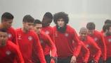 United and Marouane Fellaini training in the fog on Monday