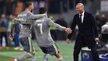 Zinédine Zidane celebrates with Cristiano Ronaldo and Sergio Ramos