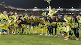 Sweden celebrate winning their Olympics qualifier against Netherlands