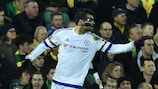 Diego Costa after scoring Chelsea's second at Norwich