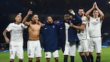 Paris players celebrate at the final whistle