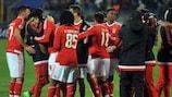 Andreas Samaris (far left) celebrates with his Benfica team-mates