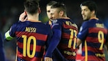 Barcelona's front three celebrate their third
