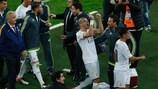 I giocatori del Real Madrid festeggiano la vittoria