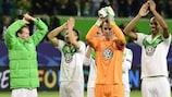 Los jugadores del Wolfsburgo celebran el triunfo tras el pitido final
