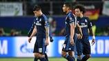 Los jugadores del Real Madrid, tras la derrota en la ida