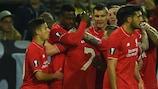 Liverpool celebrate Divock Origi's goal in Dortmund