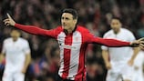 Aritz Aduriz celebrates after scoring against Sevilla in the quarter-finals