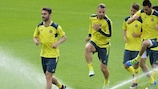 Los jugadores del Villarreal entrenando este miércoles