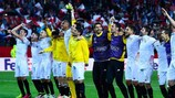 Sevilla celebrate making it to this season's final