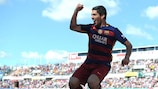 Luis Suárez célèber l'un de ses buts de samedi pour Barcelone