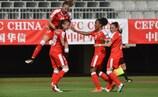 Die Schweiz feiert das 5:0 in der Tschechischen Republik