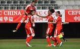 Switzerlabd celebrate scoring in their 5-0 win in the Czech Republic