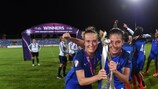 France captain Théa Greboval and Clara Mateo show off the trophy