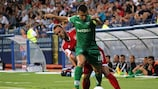 Ludogorets's Svetoslav Dyakov gets away from his man in the game against Mladost Podgorica