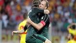 Andreas Granqvist (sulla destra) dopo il gol del vantaggio del Krasnodar contro il Birkirkara