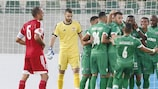 Ludogorets celebrate a goal against Mladost Podgorica in the second qualifying round