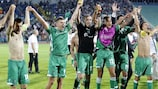 Ludogorets celebrate their remarkable play-off win against Steaua