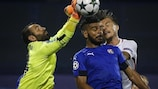 Dinamo Zagreb keeper Eduardo tries to punch clear during the first leg