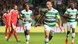Scott Brown celebrates after scoring Celtic's fifth goal in the first leg