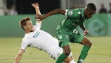 Ludogorets forward Jonathan Cafú leaves an opponent trailing during the first leg